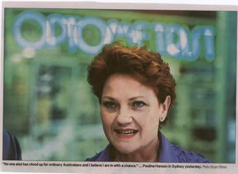 Pauline Hanson at the Optometrists