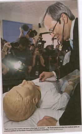 Kevin Rudd stethoscopes a dummy